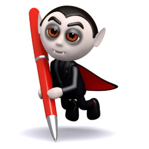 image of dracula with pen